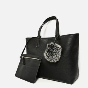 Zara Reversible Tote 8496 Black Gray Pom Pouch